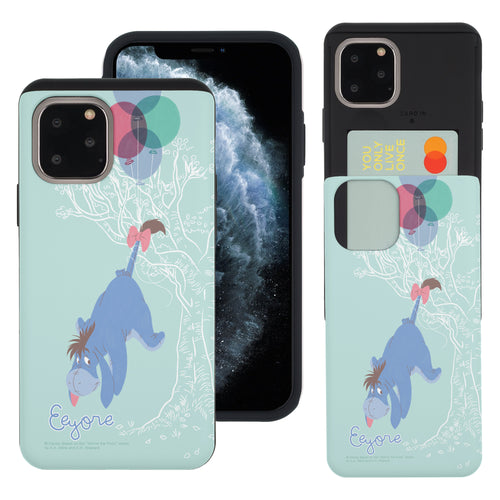 iPhone 11 Pro Max Case (6.5inch) Disney Pooh Slim Slider Card Slot Dual Layer Holder Bumper Cover - Balloon Eeyore