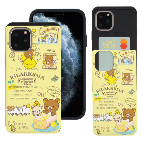 iPhone 11 Pro Max Case (6.5inch) Rilakkuma Slim Slider Card Slot Dual Layer Holder Bumper Cover - Rilakkuma Cooking