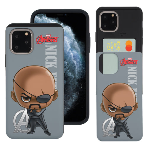 iPhone 11 Case (6.1inch) Marvel Avengers Slim Slider Card Slot Dual Layer Holder Bumper Cover - Mini Nick Fury