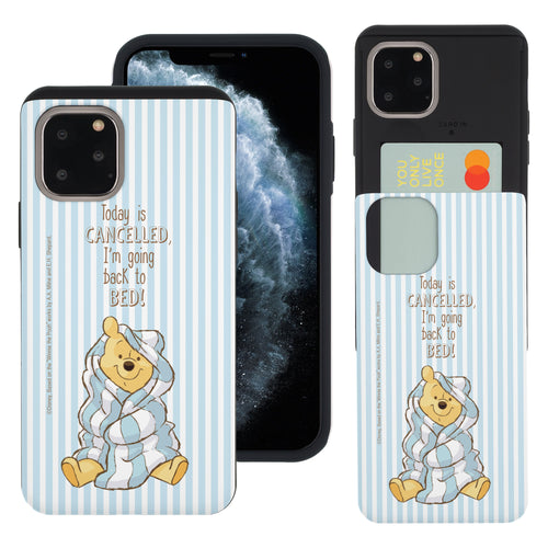 iPhone 11 Pro Max Case (6.5inch) Disney Pooh Slim Slider Card Slot Dual Layer Holder Bumper Cover - Words Pooh Stripe
