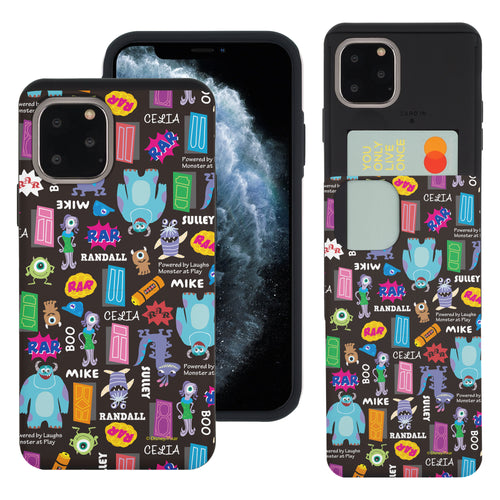 iPhone 11 Case (6.1inch) Monsters University inc Slim Slider Card Slot Dual Layer Holder Bumper Cover - Pattern Name Black