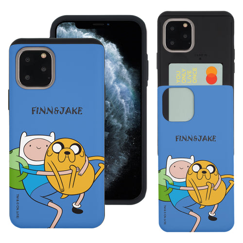 iPhone 11 Pro Max Case (6.5inch) Adventure Time Slim Slider Card Slot Dual Layer Holder Bumper Cover - Lovely Finn and Jake