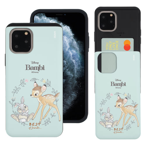 iPhone 11 Pro Max Case (6.5inch) Disney Bambi Slim Slider Card Slot Dual Layer Holder Bumper Cover - Full Bambi Thumper