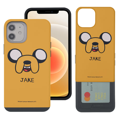 iPhone 12 Pro Max Case (6.7inch) Adventure Time Slim Slider Card Slot Dual Layer Holder Bumper Cover - Jake