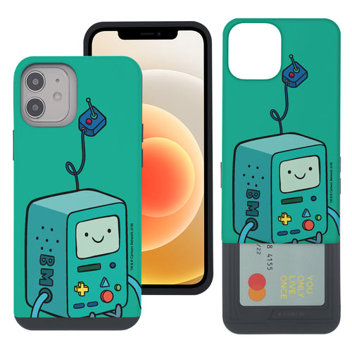 iPhone 12 mini Case (5.4inch) Adventure Time Slim Slider Card Slot Dual Layer Holder Bumper Cover - Vivid BMO