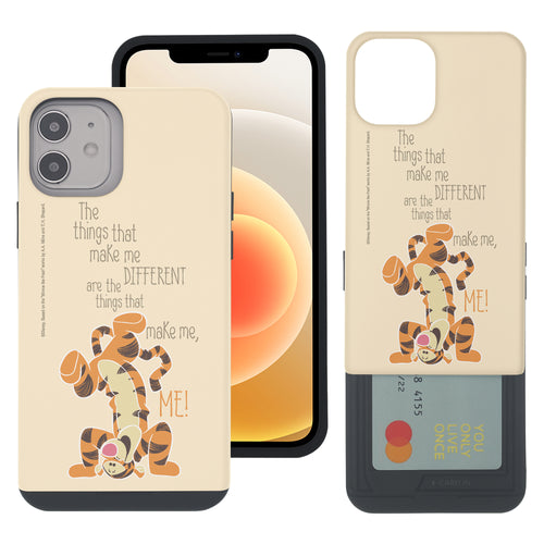 iPhone 12 mini Case (5.4inch) Disney Pooh Slim Slider Card Slot Dual Layer Holder Bumper Cover - Words Tigger