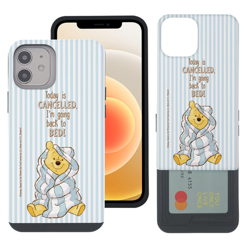 iPhone 12 mini Case (5.4inch) Disney Pooh Slim Slider Card Slot Dual Layer Holder Bumper Cover - Words Pooh Stripe