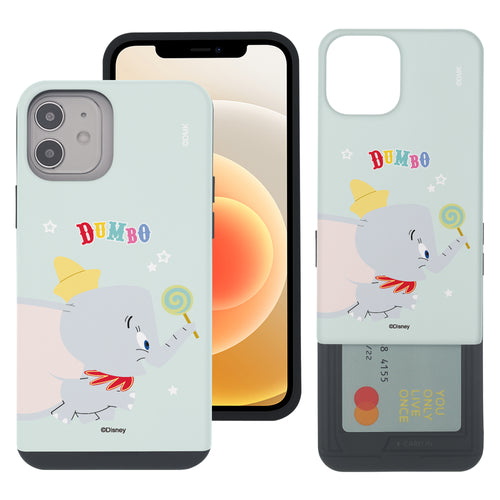 iPhone 12 mini Case (5.4inch) Disney Dumbo Slim Slider Card Slot Dual Layer Holder Bumper Cover - Dumbo Candy
