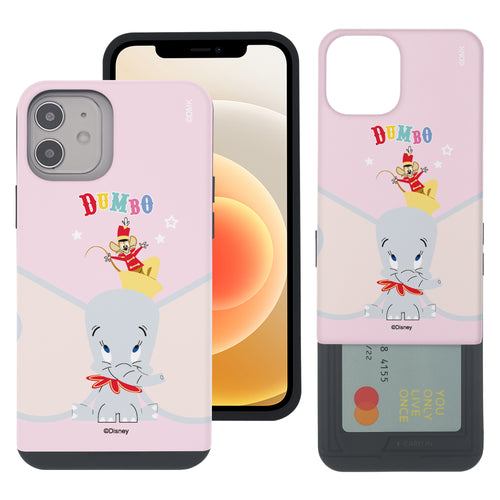 iPhone 12 mini Case (5.4inch) Disney Dumbo Slim Slider Card Slot Dual Layer Holder Bumper Cover - Dumbo Overhead