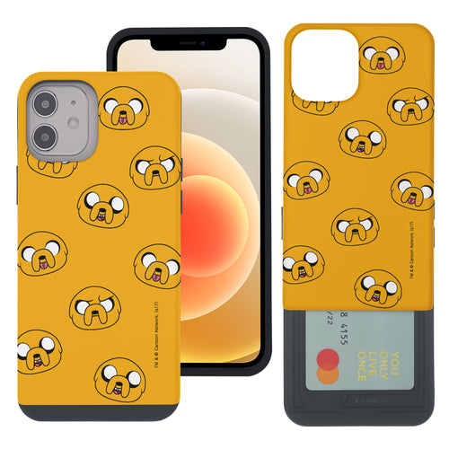 iPhone 12 mini Case (5.4inch) Adventure Time Slim Slider Card Slot Dual Layer Holder Bumper Cover - Pattern Jake
