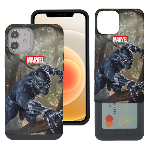 iPhone 12 Pro / iPhone 12 Case (6.1inch) Marvel Avengers Slim Slider Card Slot Dual Layer Holder Bumper Cover - Black Panther Jungle