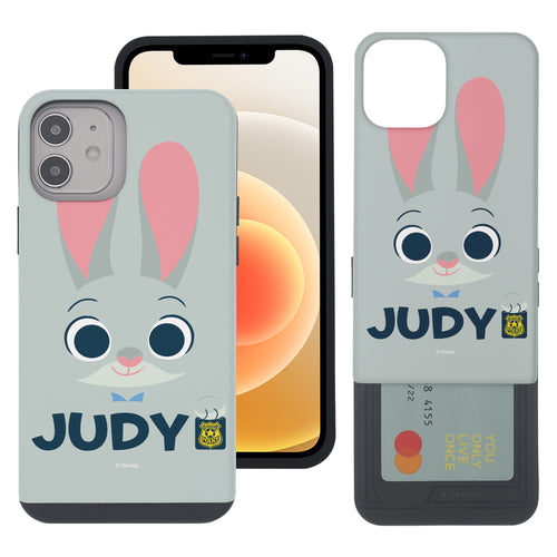 iPhone 12 mini Case (5.4inch) Disney Zootopia Dual Layer Card Slide Slot Wallet Bumper Cover - Face Judy