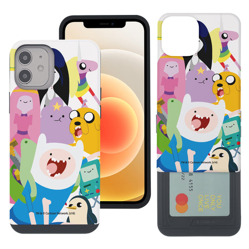iPhone 12 mini Case (5.4inch) Adventure Time Slim Slider Card Slot Dual Layer Holder Bumper Cover - Cuty Adventure Time