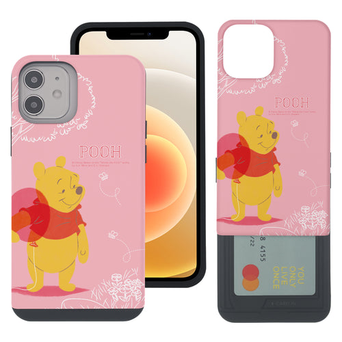 iPhone 12 mini Case (5.4inch) Disney Pooh Slim Slider Card Slot Dual Layer Holder Bumper Cover - Balloon Pooh Ground