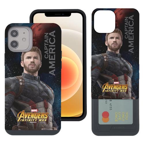 iPhone 12 Pro / iPhone 12 Case (6.1inch) Marvel Avengers Slim Slider Card Slot Dual Layer Holder Bumper Cover - Infinity War Captain America