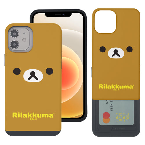 iPhone 12 Pro Max Case (6.7inch) Rilakkuma Slim Slider Card Slot Dual Layer Holder Bumper Cover - Face Rilakkuma