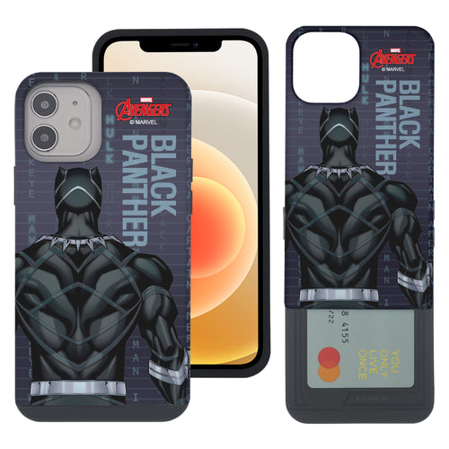 iPhone 12 Pro / iPhone 12 Case (6.1inch) Marvel Avengers Slim Slider Card Slot Dual Layer Holder Bumper Cover - Back Black Panther