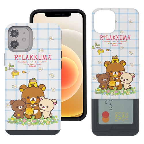 iPhone 12 Pro Max Case (6.7inch) Rilakkuma Slim Slider Card Slot Dual Layer Holder Bumper Cover - Rilakkuma Honey
