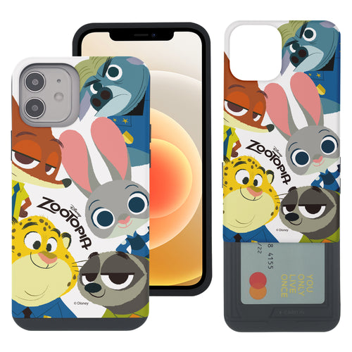 iPhone 12 mini Case (5.4inch) Disney Zootopia Dual Layer Card Slide Slot Wallet Bumper Cover - Zootopia Big