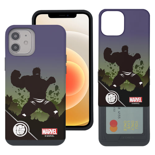 iPhone 12 Pro / iPhone 12 Case (6.1inch) Marvel Avengers Slim Slider Card Slot Dual Layer Holder Bumper Cover - Shadow Hulk