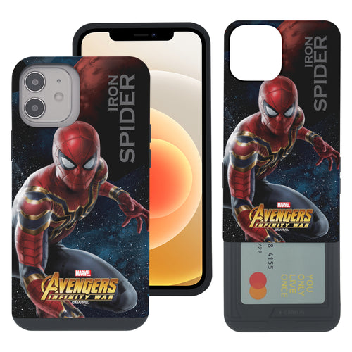 iPhone 12 Pro / iPhone 12 Case (6.1inch) Marvel Avengers Slim Slider Card Slot Dual Layer Holder Bumper Cover - Infinity War Spider Man