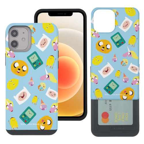 iPhone 12 mini Case (5.4inch) Adventure Time Slim Slider Card Slot Dual Layer Holder Bumper Cover - Cuty Pattern Blue