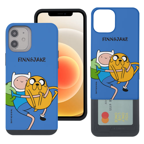 iPhone 12 mini Case (5.4inch) Adventure Time Slim Slider Card Slot Dual Layer Holder Bumper Cover - Lovely Finn and Jake