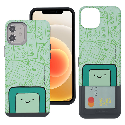 iPhone 12 mini Case (5.4inch) Adventure Time Slim Slider Card Slot Dual Layer Holder Bumper Cover - Pattern BMO Big
