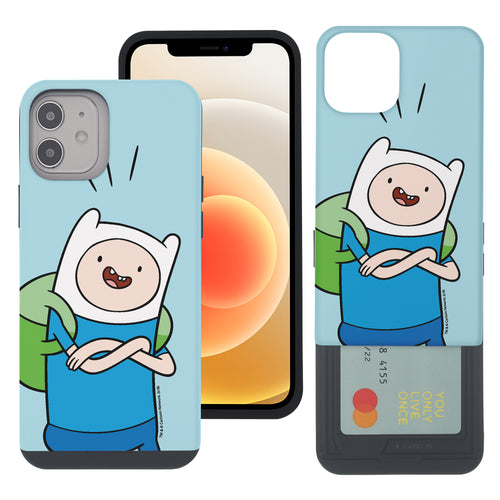 iPhone 12 mini Case (5.4inch) Adventure Time Slim Slider Card Slot Dual Layer Holder Bumper Cover - Vivid Finn
