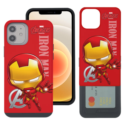 iPhone 12 Pro / iPhone 12 Case (6.1inch) Marvel Avengers Slim Slider Card Slot Dual Layer Holder Bumper Cover - Mini Iron Man