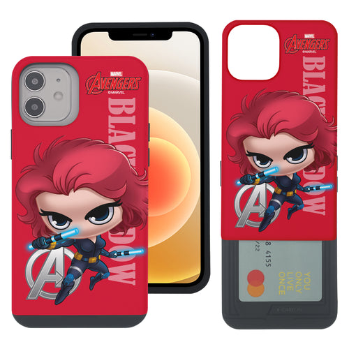 iPhone 12 Pro / iPhone 12 Case (6.1inch) Marvel Avengers Slim Slider Card Slot Dual Layer Holder Bumper Cover - Mini Black Widow