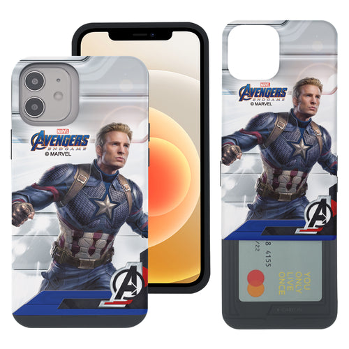 iPhone 12 Pro / iPhone 12 Case (6.1inch) Marvel Avengers Slim Slider Card Slot Dual Layer Holder Bumper Cover - End Game Captain America