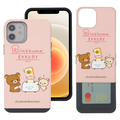 iPhone 12 Pro Max Case (6.7inch) Rilakkuma Slim Slider Card Slot Dual Layer Holder Bumper Cover - Rilakkuma Toast