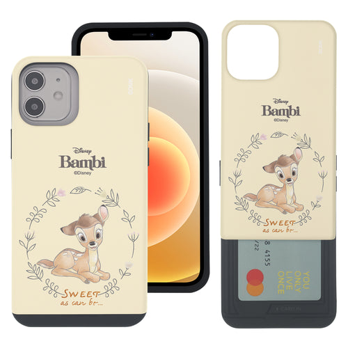 iPhone 12 mini Case (5.4inch) Disney Bambi Slim Slider Card Slot Dual Layer Holder Bumper Cover - Full Bambi