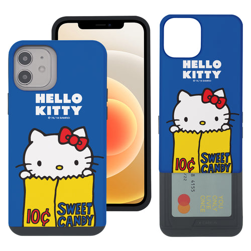 iPhone 12 mini Case (5.4inch) Sanrio Slim Slider Card Slot Dual Layer Holder Bumper Cover - Hello Kitty Candy