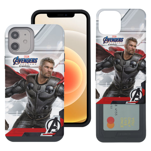 iPhone 12 Pro / iPhone 12 Case (6.1inch) Marvel Avengers Slim Slider Card Slot Dual Layer Holder Bumper Cover - End Game Thor