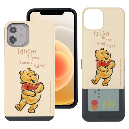 iPhone 12 mini Case (5.4inch) Disney Pooh Slim Slider Card Slot Dual Layer Holder Bumper Cover - Words Pooh Laugh