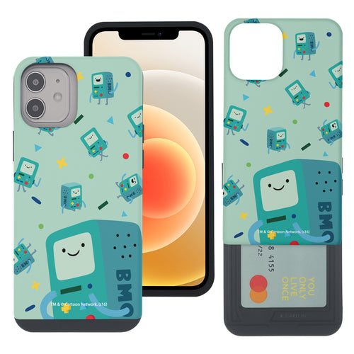 iPhone 12 mini Case (5.4inch) Adventure Time Slim Slider Card Slot Dual Layer Holder Bumper Cover - Cuty Pattern BMO