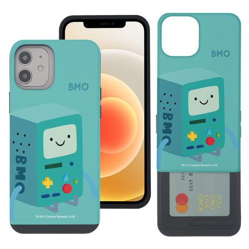 iPhone 12 mini Case (5.4inch) Adventure Time Slim Slider Card Slot Dual Layer Holder Bumper Cover - Cuty BMO