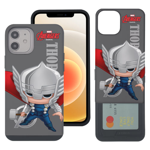 iPhone 12 Pro / iPhone 12 Case (6.1inch) Marvel Avengers Slim Slider Card Slot Dual Layer Holder Bumper Cover - Mini Thor