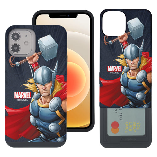 iPhone 12 Pro / iPhone 12 Case (6.1inch) Marvel Avengers Slim Slider Card Slot Dual Layer Holder Bumper Cover - Illustration Thor