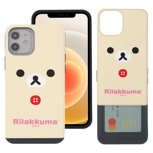 iPhone 12 Pro Max Case (6.7inch) Rilakkuma Slim Slider Card Slot Dual Layer Holder Bumper Cover - Face Korilakkuma