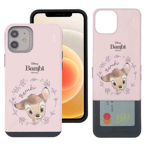 iPhone 12 mini Case (5.4inch) Disney Bambi Slim Slider Card Slot Dual Layer Holder Bumper Cover - Face Bambi