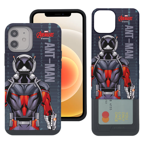 iPhone 12 Pro / iPhone 12 Case (6.1inch) Marvel Avengers Slim Slider Card Slot Dual Layer Holder Bumper Cover - Back Ant Man