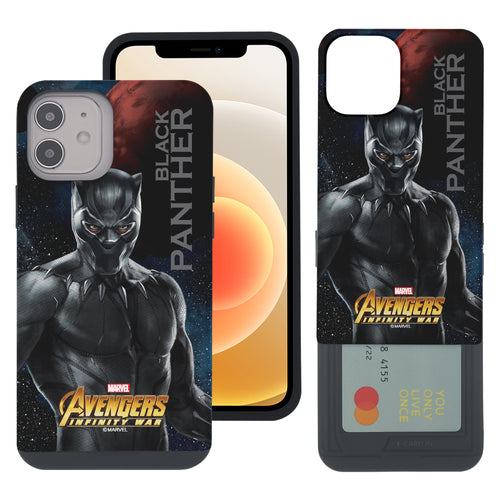 iPhone 12 Pro / iPhone 12 Case (6.1inch) Marvel Avengers Slim Slider Card Slot Dual Layer Holder Bumper Cover - Infinity War Black Panther