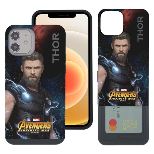 iPhone 12 Pro / iPhone 12 Case (6.1inch) Marvel Avengers Slim Slider Card Slot Dual Layer Holder Bumper Cover - Infinity War Thor