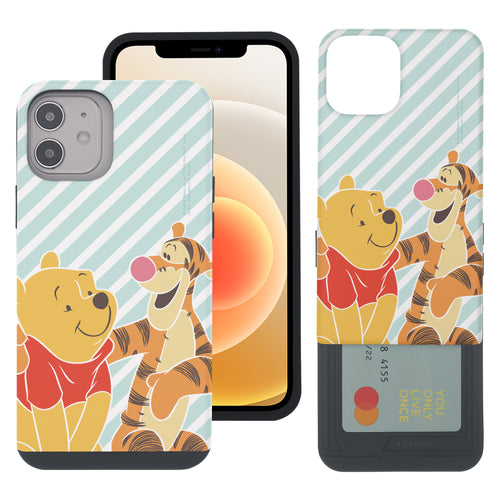 iPhone 12 mini Case (5.4inch) Disney Pooh Slim Slider Card Slot Dual Layer Holder Bumper Cover - Stripe Pooh Tigger