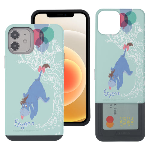 iPhone 12 mini Case (5.4inch) Disney Pooh Slim Slider Card Slot Dual Layer Holder Bumper Cover - Balloon Eeyore