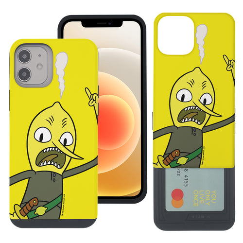 iPhone 12 mini Case (5.4inch) Adventure Time Slim Slider Card Slot Dual Layer Holder Bumper Cover - Vivid Lemongrab