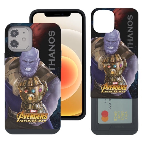 iPhone 12 Pro / iPhone 12 Case (6.1inch) Marvel Avengers Slim Slider Card Slot Dual Layer Holder Bumper Cover - Infinity War Thanos